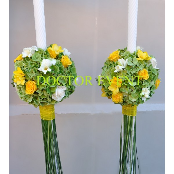 lumanari-hortensii-verzi-trandafiri-galbeni-si-frezii